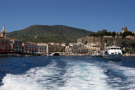 View of the little harbor of Lipari Stock Photo