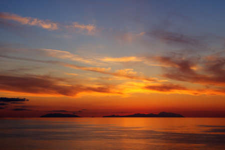 Zonsondergang op de Eolische eilanden Stockfoto