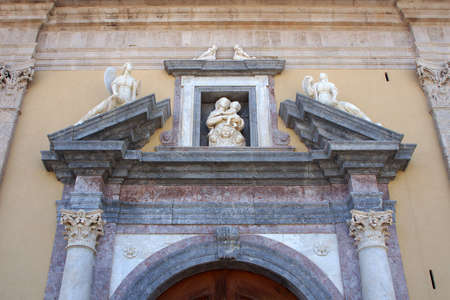 desecrated: The ancient cathedral of Milazzo  access door Stock Photo
