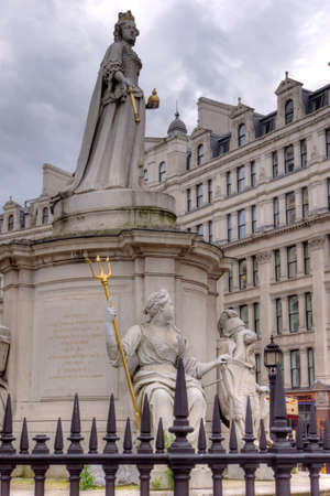 The statue of Queen Ann in front of St Paul s Cathedral in London
