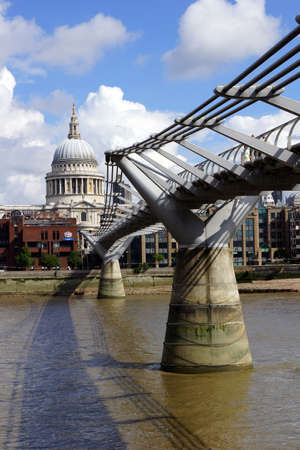 millennium bridge: Millennium Bridge and Saint Paul Cathedral Editorial