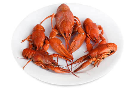 diet dinner: red crayfish on a plate