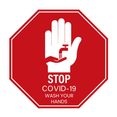 Stop COVID-19 wash your hands Vectores