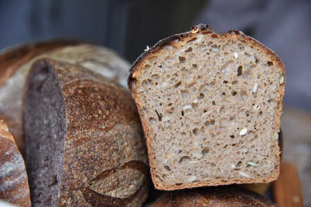 A fresh crusty loaf of homemade bread.