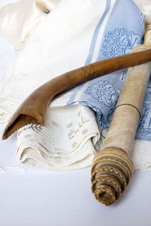 Rosh Hashanah Hashana jewish New Year holiday and Yom Kippur concept with Ram shofar ,horn, Rolled Parchment Scroll, Tallit