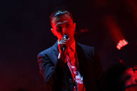 MINSK, BELARUS - JULY 2  Group HURTS performs on MOST Festival 2013 July 2, 2013 in Minsk, Belarus