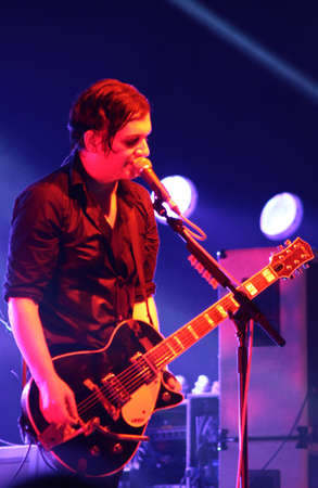 placebo: MINSK, BELARUS - SEPT 22  Rock band Placebo and Brian Molko in concert at the Sport Palace on Saturday, September 22, 2012 in Minsk, Belarus