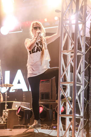 apes: MINSK, BELARUS - JULY 3: Sandra Nasic and Guano Apes rock band perform during Most festival on Borovaya airfield in Minsk, July 3, 2014 Editorial