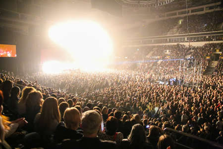 concert lights: People crowd in concert lights Editorial