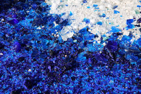 scruple: Blue and white glass particles background Stock Photo