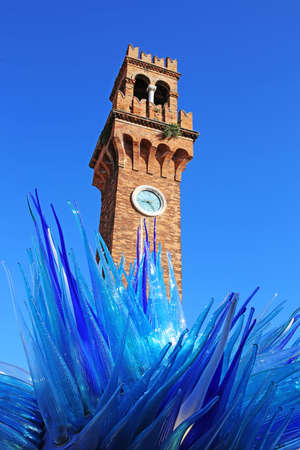Famous Blue Glass Sculpture Display by Simone Cenedes in Murano Island located in the Venetian Laguna