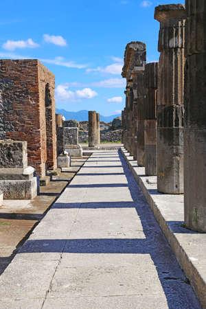 Ruins of Ancient Pompeii, Roman town destroyed by Vesuvius volcano in 79 AD Фото со стока