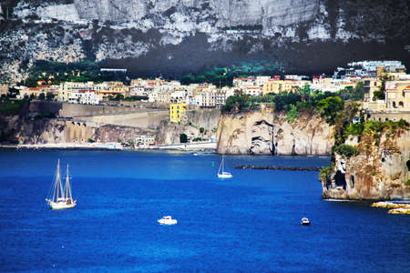 Amazing view of Sorrento resort city and Bay of Naples in Italy Фото со стока