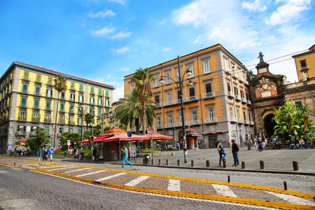 NAPLES, ITALY - October 9, 2016: Naples sunny street view. Italy, Europe Редакционное