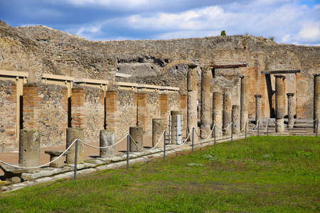 Ruins of ancient city Pompeii, destroyed by vulcanic eruption of Vesuvio mountain, Italy