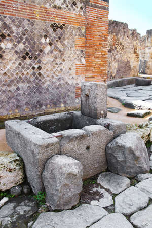 Public fountain in the streets of Pompeii