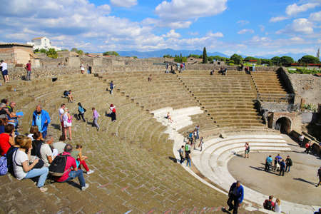POMPEII, ITALY - October 9, 2016 - The Teatro Grande (Big Theater) in Pompeii, Naples, Italy Редакционное