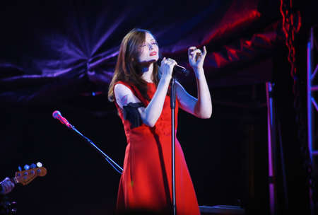 Minsk, Belarus - August 13, 2018: British singer Sophie Michelle Ellis-Bextor performs during A-Fest in Minsk, Belarus Редакционное