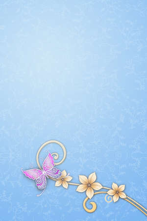 Elegant template design with blue butterfly photo