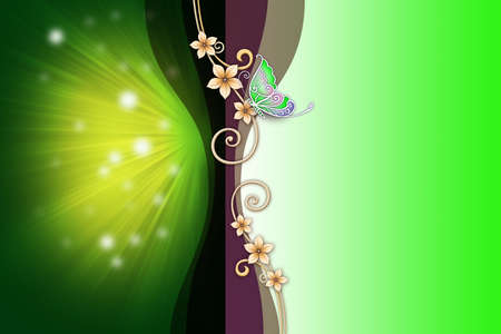 Elegant template design with green butterfly photo