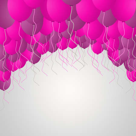 Template for Happy Birthday Greeting Card with balloons Stock Photo