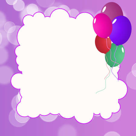 Template for Happy Birthday Greeting Card with purple list photo