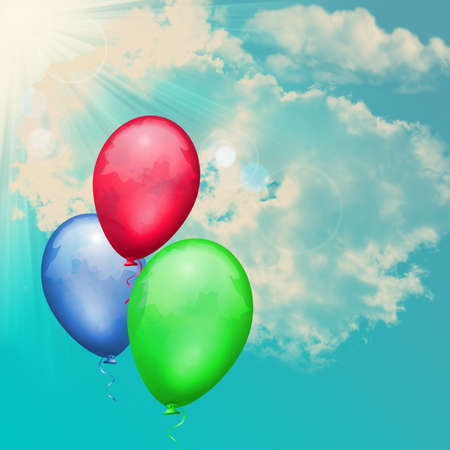 Template for Happy Birthday Greeting Card with sky background photo