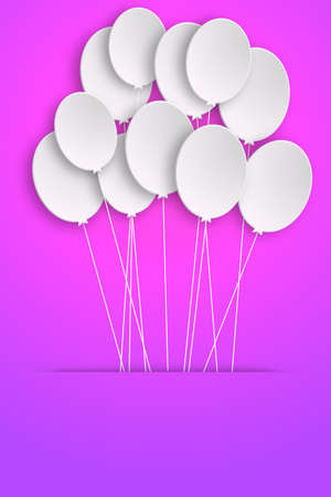 Template for Happy Birthday Greeting Card with white balloons photo