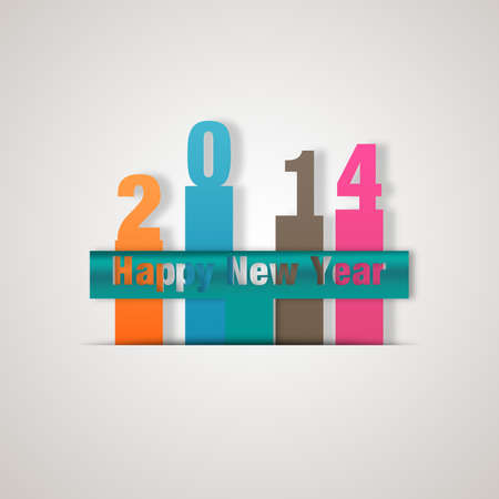 New Year design; number in colour paper-4 Stock Photo