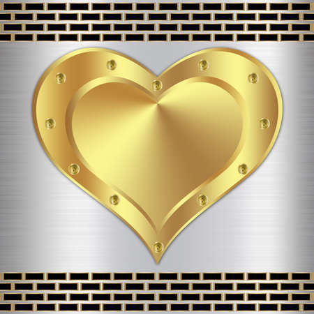 Metal background design with heart-4 photo
