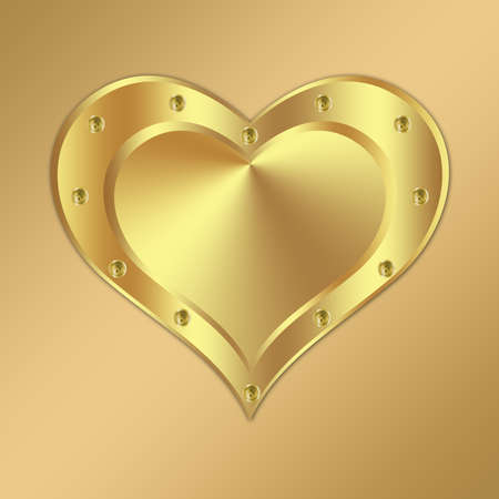 platinum: Metal background design with heart-2 Stock Photo