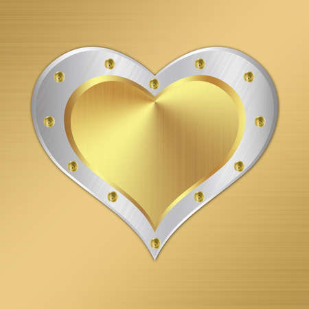 Metal background design with heart-1 photo