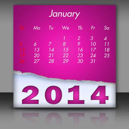 New Year 2014-Calendar January Stock Photo
