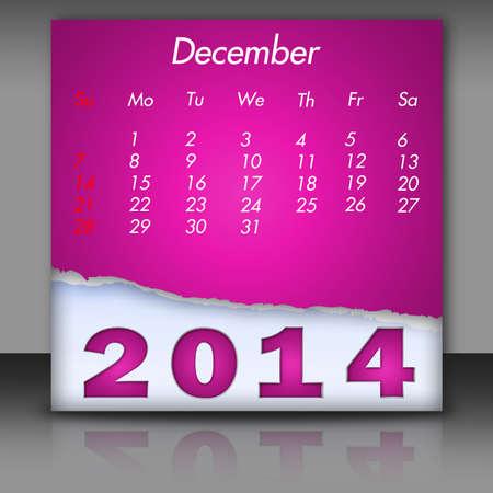 december: New Year 2014-Calendar December