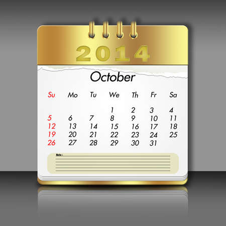 october calender: Papel octubre Calendario