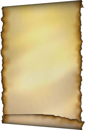 Old Scroll With Burnt Edges over White background Stock Photo