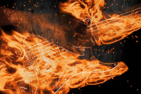 playing a burning string guitar with flames and smoke Stock Photo - 4494563