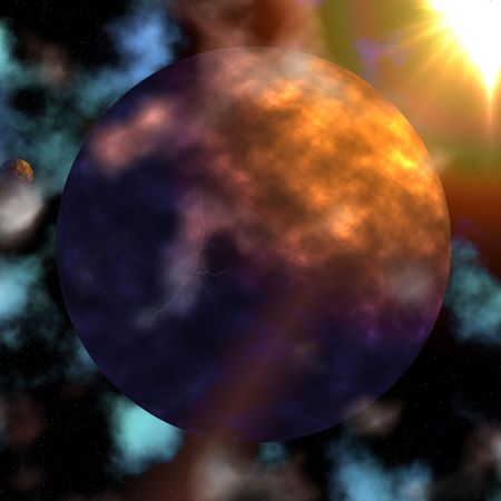 Giant planet under a galactic ball of fire Stock Photo - 4781352