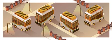 Urban transport - illustration. Four projections of a bus in isometry. Isolated Vector. Stock Illustratie