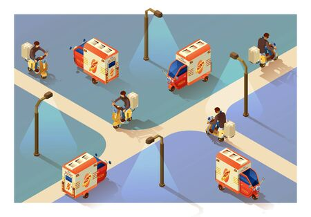 Delivery pizza electric tricycle. Four projections of a delivery man in isometry. Delivery concept.