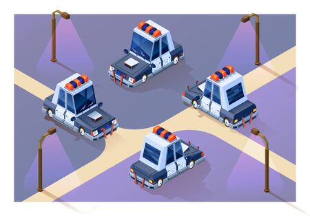 Concept city guarding. Four projections of a police car in isometry. Isolated Vector.