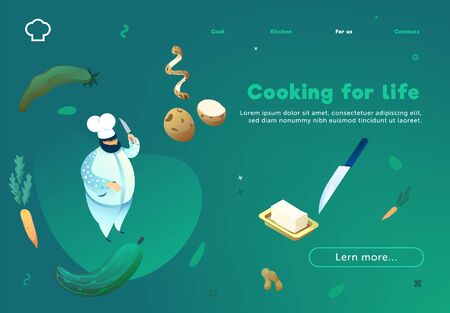 Cooking for life. Colored spots on bright gradients. Web site concept. Zdjęcie Seryjne - 138381594