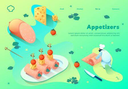 Chef prepares cold appetizers. Colored spots on bright gradients. Web site concept. Illusztráció