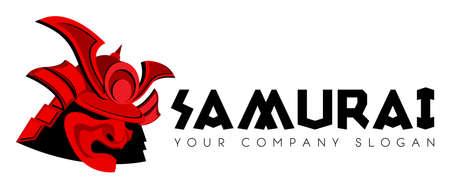 combatant: Samurai face mask vector identity template Illustration
