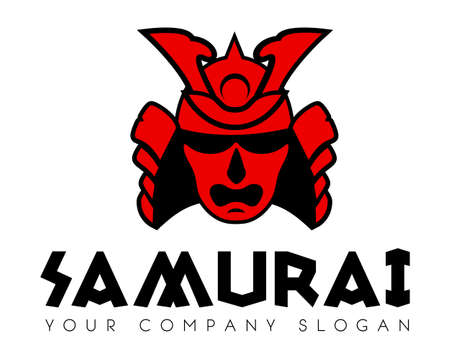 Samurai face mask vector icon template Illustration