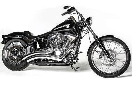 harley davidson: Black Harley Davidson CVO retro bike isolated on white background