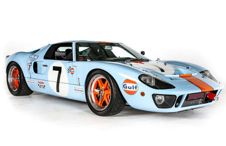 GT40 Ford Racing Car Le Mans vintage Classic on white background in racing liveries