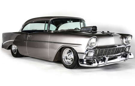 chevrolet: 1956 Chevrolet coup with supercharger isolated on white background