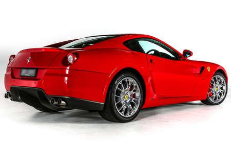 ferrari: Ferrari 599 V12 Super Car Rear Angle Isolated on White Background