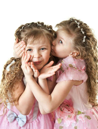 twin sister: Beautiful little sisters Stock Photo